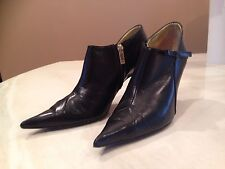 Charles Jourdan Ankle Leather Booties Black Size 8 1/2 Made In France