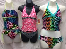 Girls 12 Angel Beach, Beach Native & Justice Swimwear Halter Tankinis 2 NWT