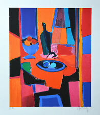 """Marcel Mouly """"ASSIETTE et COMPOTIER BLEUS"""" Signed Numbered Lithograph with a COA"""