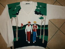 JACK NICKLAUS GOLF SWEATER vtg V-Neck Course Golfing Golfers GOLDEN BEAR BRAND