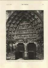 1898 Old Porch Rheims Cathedral Sculpture St Nicaise Remigius