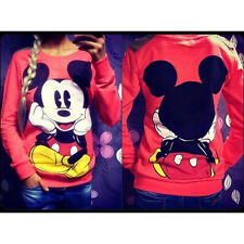 Womens Ladies Mickey Mouse Printed Sweatshirt Hoodies Casual Pullover Jumper Top