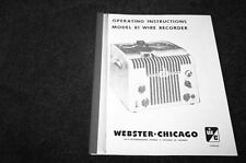 Webster Chicago 81 Wire recorder owners manual reprint
