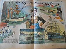 Croquis Marins Navire école Brésilien Almirante Saldanha dessin Print 1935