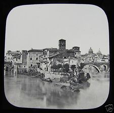 Glass Magic Lantern Slide ISLAND IN THE TIBER ROME C1900 ROMA ITALY
