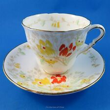 Handpainted  Yellow & Red Tulips  Royal Stafford Tea Cup and Saucer Set