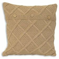 "TAUPE BEIGE ARAN CABLE HAND KNIT COTTON BUTTON CUSHION COVER 22""- 55CM #ORB"