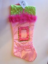 Green & Pink Princess Castle Feather Boa Christmas Stocking Mantle Decoration