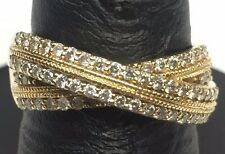 Ornate 14K Yellow Gold .60CT Round Diamond Bypass Crossover Band Cocktail Ring 8