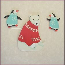 POLAR BEAR & PENGUIN METAL MAGNETS SET OF 3 BY EMBELLISH YOUR STORY FREE SHIP