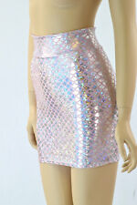 SMALL Holographic Silver & Pink Mermaid Scale Bodycon Mini Skirt Ready To Ship!