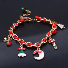Christmas Santa Claus Gift Tree Candy Deer Bell Charm Gold Tone Chain Bracelet