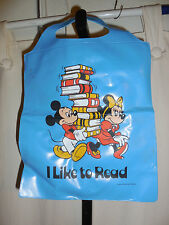 "VINTAGE WALT DISNEY MICKEY MINNIE MOUSE SMALL BLUE BOOK BAG ""I LIKE TO READ"" EUC"