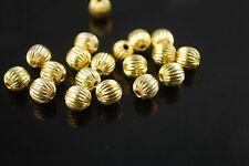 20pcs 8mm Round Wrinkle Alloy Metal Loose Spacer Beads Jewelry Findings Gold New