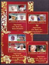 St. Vincent Canouan 2014 Mi. 351-58, Bl. 51-52 ** Papst Franziskus Queen Elisabe