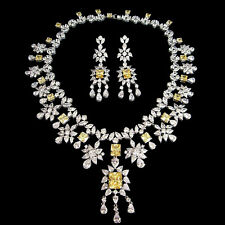 White Gold Plated Yellow Sapphire Pendant Necklace Earrings Wedding Jewelry Set