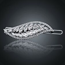 USA Hair Clip use Swarovski Crystal Hairpin Bridal Wedding Silver Clear CZ 1