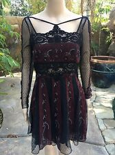 NWOT Free People Dress Tough Love Stunning Black and Burgundy Lace Dress Size 4