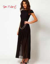 Rare Maxi Dress with Bandage Skirt and Chain Belt(Belt Missing) in Black UK8 EU3