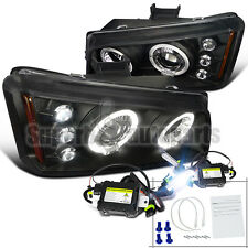 2003-2006 Chevy Silverado LED Dual Halo Projector Headlights Black+6000K HID Kit