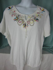 Lane Bryant Blouse Top 22/24  White Colorful Embroidery Neckline All Cotton NWT