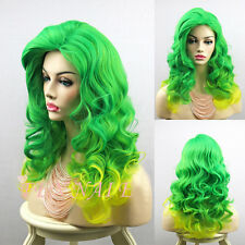 Lady Womens Glamour Green Yellow Ombre Hair Long Wavy Curly Cosplay Party Wig