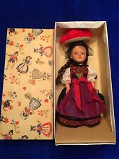 "Vtg German Gura 13"" Doll Black Forest Dress 60s Celluloid Blue Sleepy Eyes MIB"