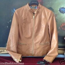 NWT Women AM STUDIO BY ANDREW MARC leather touch jacket BROWN S