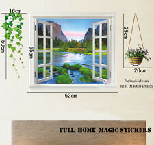 Huge 3D Window Mountain Riverview Landscape Wall Stickers Mural Art Decal Paper