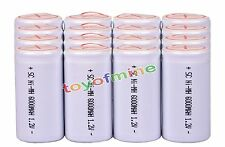 16 x Sub C SubC With Tab 6000mAh 1.2V Ni-MH White Color Rechargeable Battery USA