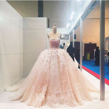 Pink Luxury Flowers Wedding Dresses Lace Puffy Bridal Gown Custom 2 4 6 8 10 12+
