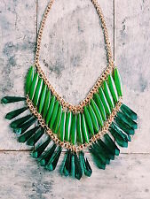 STUNNING FESTIVAL BOHO  STATEMENT WATERFALL MULTI TIERED BEADED GREEN NECKLACE
