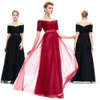 Off Shoulder Long Bridesmaid Evening Formal Party Ball Gown Prom Wedding Dresses