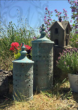 Set of 2 Vintage Lantern Candle Holder Garden Antique Moroccan Tea Light Blue