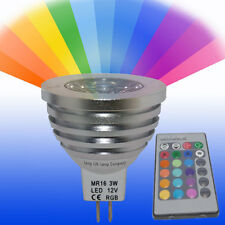 MR16 LED Remote Control Colour Changing Light Bulb 3W 16 Colours 12V New