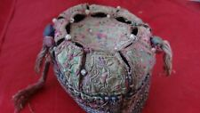 Antique Chinese Emroidered Hat With Glass Beads Decoration