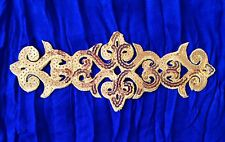 gold sequin embroidery patch lace applique motif dress irish dance costume