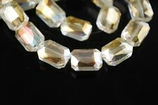 10pcs 14mm Rectangle Square Faceted  Crystal Glass Loose Beads Citrine Yellow