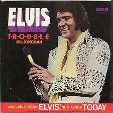 VINTAGE 45 R.P.M. PICTURE SLEEVE - ELVIS  Mr. Songman/T-R-O-U-B-L-E