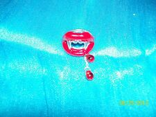"Halloween Vampire Ring with ""Fangs"" and Red ""Blood-Drop"" Beads"