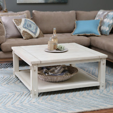 Square Coffee Table with Storage Rustic Antique White Finish Wood Bottom Shelf