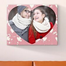 "CANVAS Personalised SHAPED YOUR Photo Print 20x16"" (50x40cm) Custom Wall Hang"
