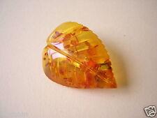 Kleine Geschnitzte Honig Bernstein Blatt Brosche 3,6 g Amber Brooch Schmuck