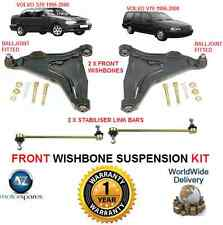 FOR VOLVO V70 S70 FRONT 2 WISHBONE ARMS + 2 STABILISER LINK BARS SUSPENSION KIT