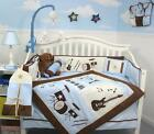 Blue & Brown Rock Band Baby Crib Nursery Bedding Set 13 pcs included Diaper Bag