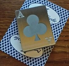 Stainless Steel, Poker Card Protector, Card Guard, Paper Weight, ACE OF CLUBS