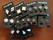 JOB LOT-10 pairs of 10 different shapes coloured diamonte stud earring.Silver pl