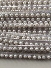 ATTRACTIVE INDIAN WHITE PEARL BEADS on WHITE LACE TRIM  - SOLD by METRE