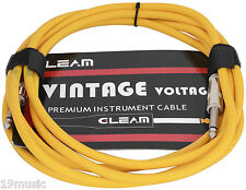 1604 instrument guitar cable lead 3m vintage retro YELLOW bass keyboard wire