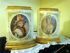 Vintage Borghese Gilt Plaster Bookends with Victorian ladies